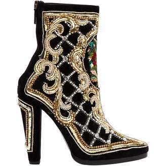 Balmain Gold Suede Ankle boots