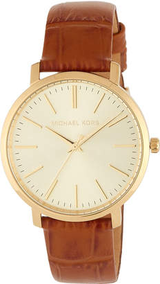 MICHAEL Michael Kors 38mm Jaryn Leather Watch, Brown