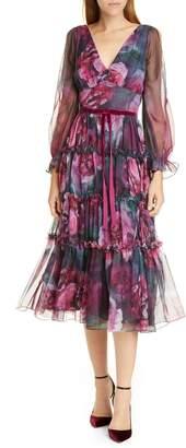 Marchesa Floral V-Neck Long Sleeve Chiffon Midi Dress