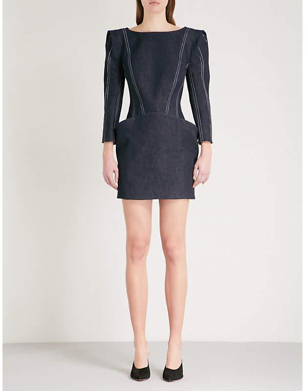 Padded shoulder stretch-denim dress