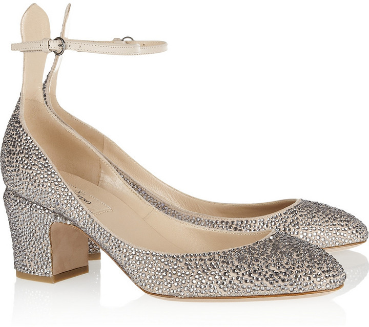 Valentino Crystal-studded suede pumps