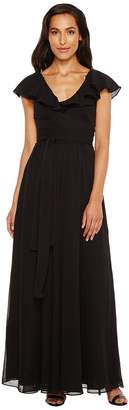Jill Stuart Crisscross Back Chiffon Tie Gown Women's Dress
