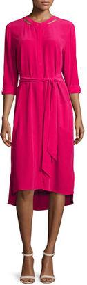 Go Silk Long-Sleeve Belted Silk Shirtdress, Petite $199 thestylecure.com