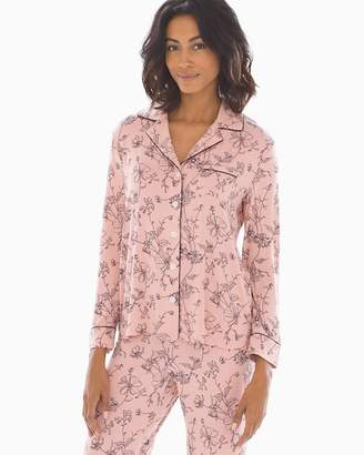cfbbd995a3 Cool Nights Long Sleeve Notch Collar Pajama Top Antique Floral Rose