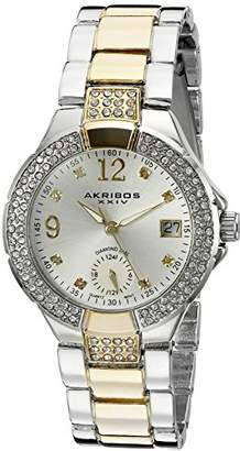 Akribos XXIV Women's AK775TTG Swiss Quartz Movement Watch with Silver Dial and Diamond Hour Markers
