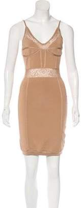 Balmain Paneled Bodycon Dress Tan Paneled Bodycon Dress