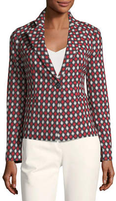 Emporio Armani Notched-Lapel One-Button Optic-Print Wool-Blend Jacket