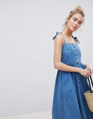 Asos DESIGN denim button through midi dress in midwash blue