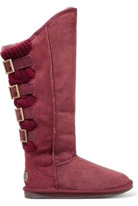 Australia Luxe Collective Spartian Tall Paneled Buckled Shearling Boots