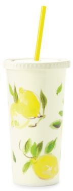 Kate Spade Lemon Print Tumbler and Straw