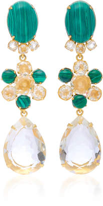 Bounkit Malachite and Quartz 14K Gold-Plated Brass Fish Hook Earrings