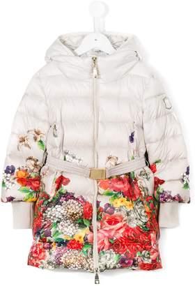 MonnaLisa floral print padded coat