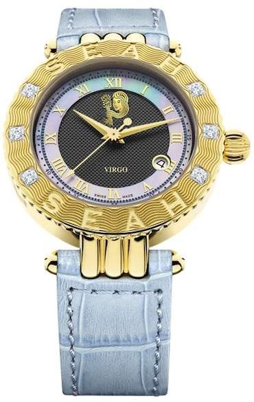 Seah Designs Unisex Blue Genuine Alligator Strap Diamond Accented Empyrean Zodiac Watch - Virgo - 0.50 ctw