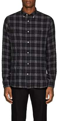 Officine Generale Men's Plaid Cotton Flannel Shirt - Dark Gray