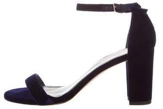 Stuart Weitzman Velvet Ankle Strap Sandals