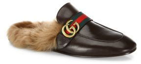 Gucci New Princetown Fur & Leather Mules $995 thestylecure.com