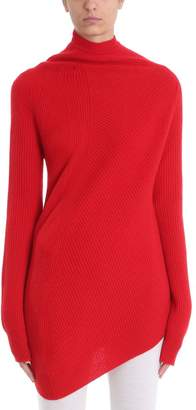 Jil Sander Red Wool And Cashmere Blend Twisted Knit Jumper