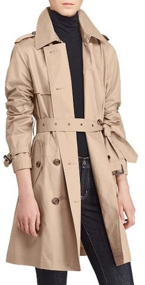 Women's Lauren Ralph Lauren Double-Breasted Trench Coat $200 thestylecure.com