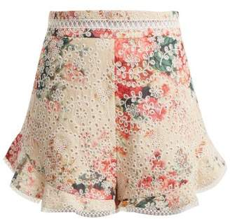Zimmermann Laelia Diamond Floral Print Cotton Shorts - Womens - Cream Multi