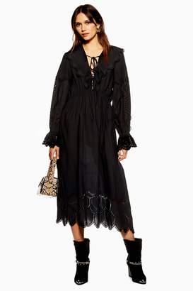 Topshop Womens Long Sleeve Broderie Dress - Black