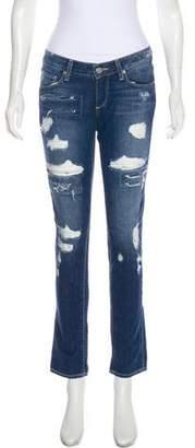 Paige Denim Low-Rise Straight-Leg Distressed Jeans