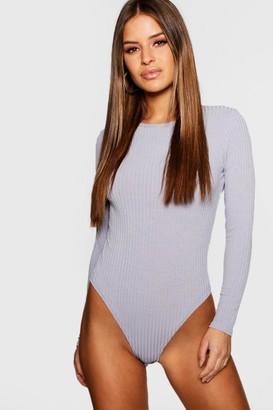 boohoo Petite Rib Knit Bodysuit