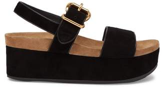 Prada Suede Double Strap Flatform Sandals - Womens - Black