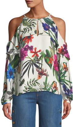 Parker Suzette Floral Silk Cold-Shoulder Blouse