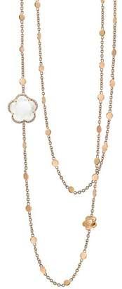 """Pasquale Bruni 18K Rose Gold Bon Ton Floral Milky Quartz & Diamond Necklace, 40"""""""