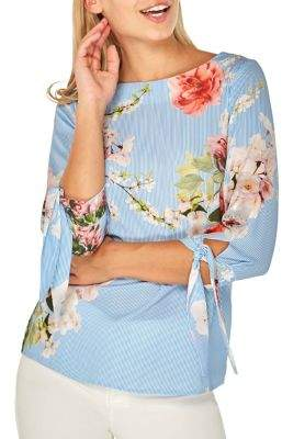 Dorothy Perkins Floral Striped Tie-Sleeve Blouse