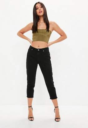 Missguided Black Mid Rise Cropped Jeans