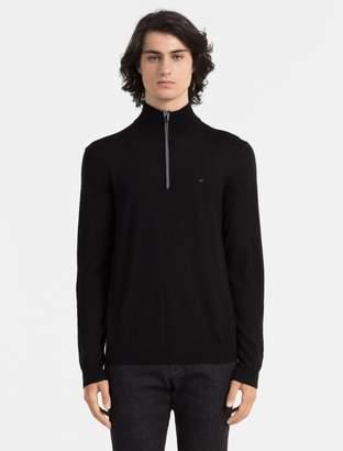 Calvin Klein slim fit merino wool logo quarter zip sweater