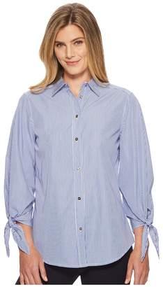 Lauren Ralph Lauren Striped Tie-Sleeve Woven Shirt Women's T Shirt