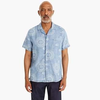 J.Crew Short-sleeve dotted pinwheel print shirt with camp collar