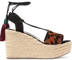 Schutz Lila Leopard-print Calf Hair Wedge Espadrille Sandals