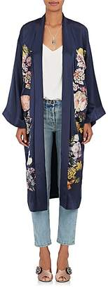 Alice Archer Women's Floral-Embroidered Silk Satin Kimono