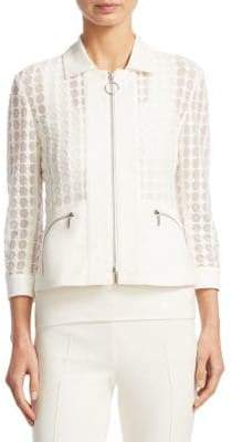 Akris Punto Lace Dot Zip-Front Jacket