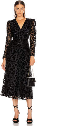 Self-Portrait Self Portrait Metallic Leopard Midi Dress in Black & Navy | FWRD