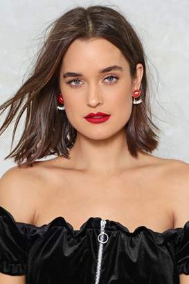Nasty Gal Getting Lippy Diamante Earrings
