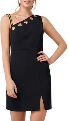 Ever New Asymmetric Bodice Eyelet Keyhole Sleeveless Mini Dress