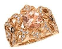 LeVian Le Vian 14K Strawberry Gold, Peach Morganite, Vanilla Diamonds & Chocolate Diamonds Openwork Ring