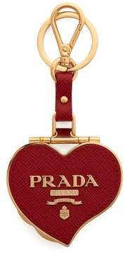 Prada Heart Pill Saffiano Leather Key Ring - Womens - Red