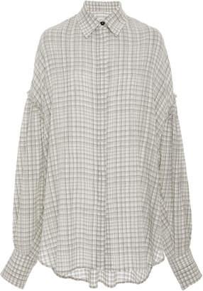 Jonathan Cohen Jorden Grid-Print Button-Down Cotton Blouse