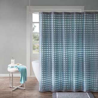 Circe Madison Park Essentials Faux Silk Laser Cut Circle Contrast Shower Curtain