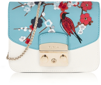 Furla Petalo Metropolis Mini Crossbody Bag w/Detachable Turquoise Garden Embroidery Flap $435 thestylecure.com