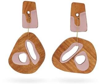 Roksanda Mismatched Sculptural Wood Drop Earrings - Womens - Brown