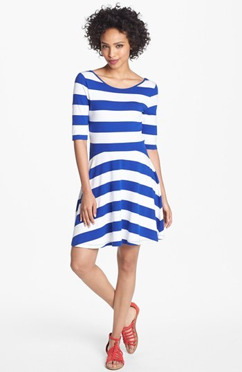French Connection Stripe Jersey Skater Dress