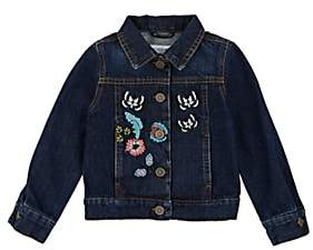 Victoria Road Kids' Butterfly-Embroidered Denim Jacket - Blue