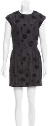 Balenciaga Velvet-Accented Polka Dot Dress