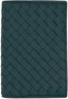Bottega Veneta Blue Intrecciato Passport Holder